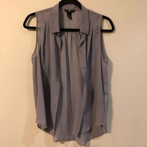 H&M Gray Button Down Sleeveless Shirt Size 2